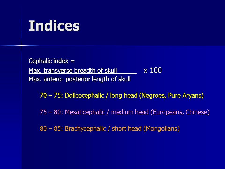 Indices Cephalic index = Max. transverse breadth of skull _____ x 100 Max.
