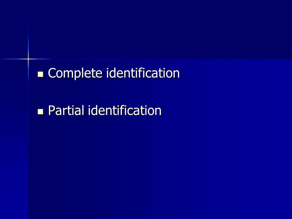 Complete identification Complete identification Partial identification Partial identification