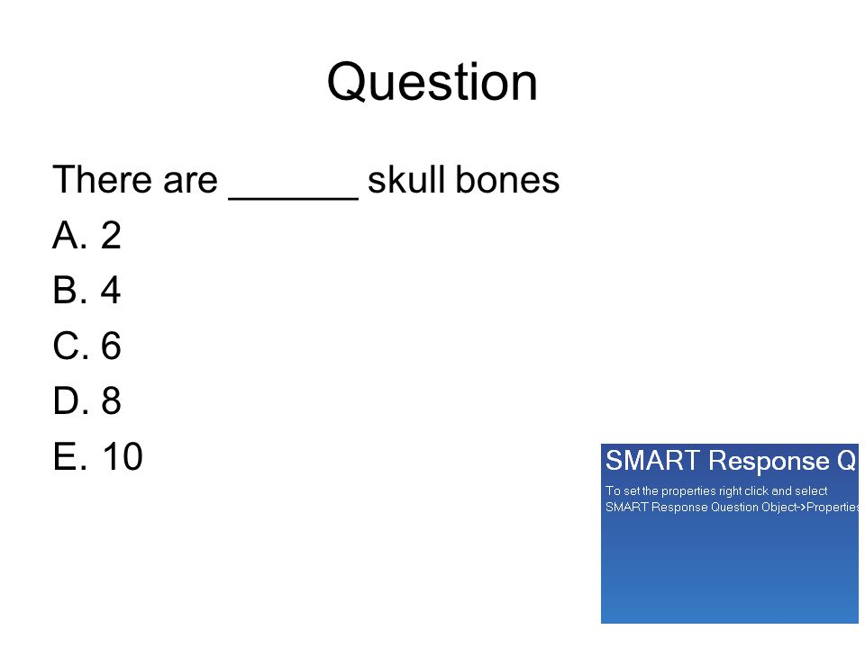 Question There are ______ skull bones A.2 B.4 C.6 D.8 E.10