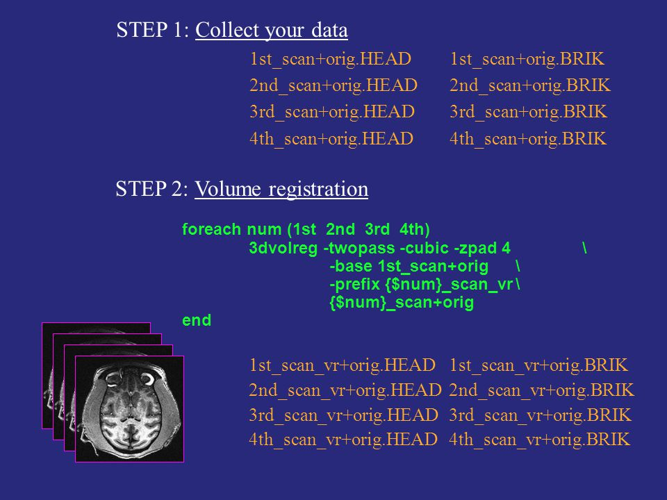 STEP 1: Collect your data 1st_scan+orig.HEAD1st_scan+orig.BRIK 2nd_scan+orig.HEAD2nd_scan+orig.BRIK 3rd_scan+orig.HEAD3rd_scan+orig.BRIK 4th_scan+orig.HEAD4th_scan+orig.BRIK STEP 2: Volume registration foreach num (1st 2nd 3rd 4th) 3dvolreg -twopass -cubic -zpad 4 \ -base 1st_scan+orig \ -prefix {$num}_scan_vr\ {$num}_scan+orig end 1st_scan_vr+orig.HEAD1st_scan_vr+orig.BRIK 2nd_scan_vr+orig.HEAD2nd_scan_vr+orig.BRIK 3rd_scan_vr+orig.HEAD3rd_scan_vr+orig.BRIK 4th_scan_vr+orig.HEAD4th_scan_vr+orig.BRIK