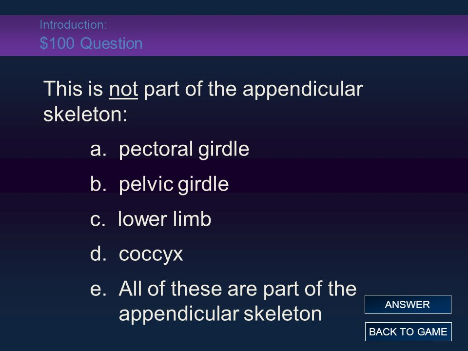 Introduction: $100 Question This is not part of the appendicular skeleton: a.