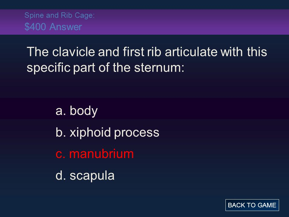 Spine and Rib Cage: $400 Answer The clavicle and first rib articulate with this specific part of the sternum: a. body b. xiphoid process c. manubrium
