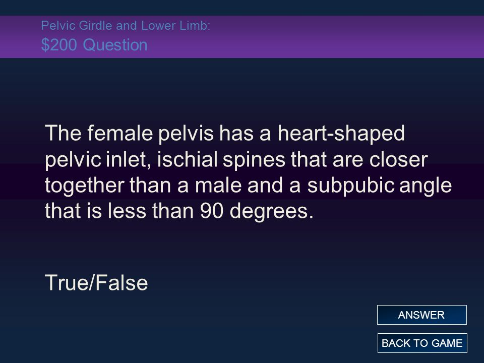 Pelvic Girdle and Lower Limb: $200 Question The female pelvis has a heart-shaped pelvic inlet, ischial spines that are closer together than a male and a subpubic angle that is less than 90 degrees.