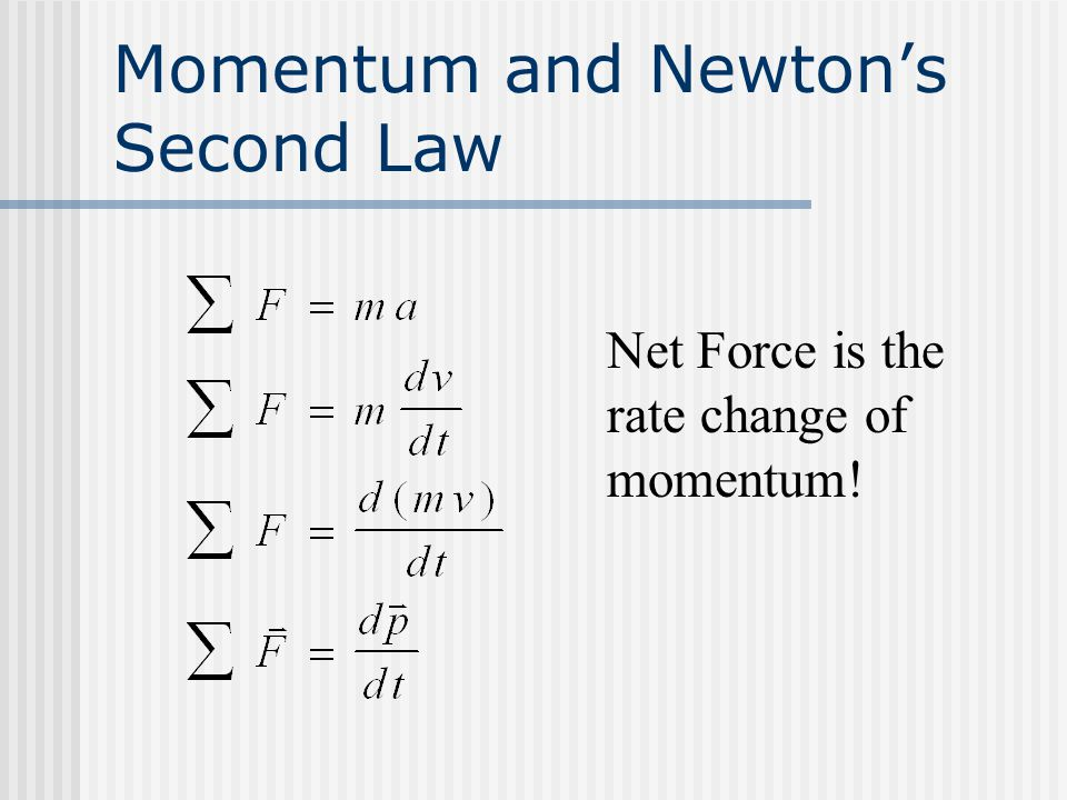 Momentum and Newton's Second Law Net Force is the rate change of momentum!