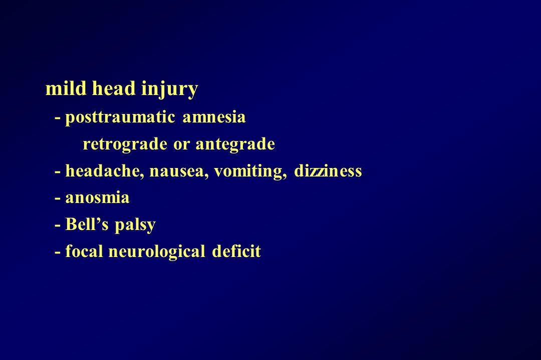 mild head injury - posttraumatic amnesia retrograde or antegrade - headache, nausea, vomiting, dizziness - anosmia - Bell's palsy - focal neurological