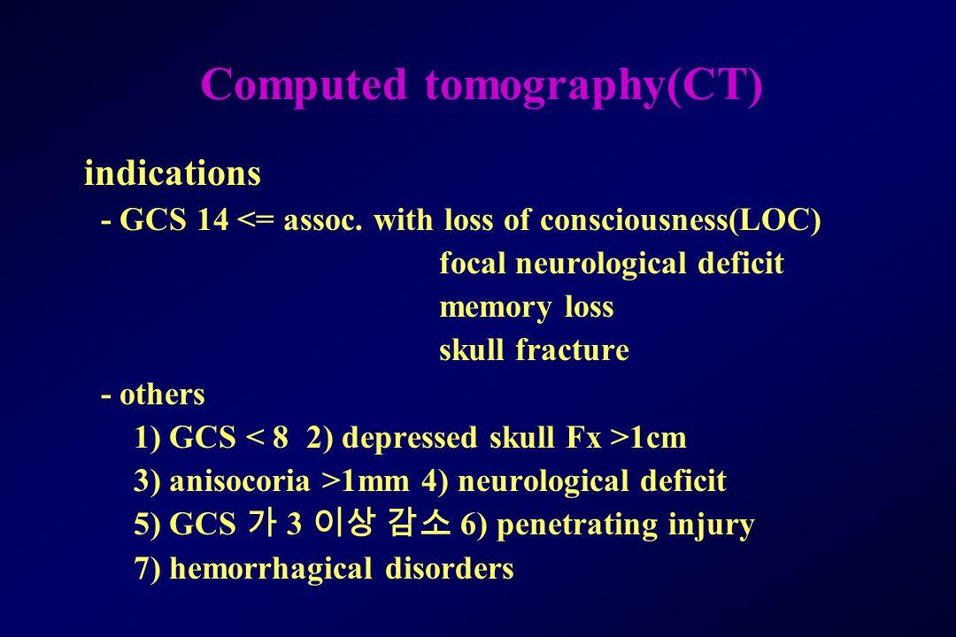 Computed tomography(CT) indications - GCS 14 <= assoc.