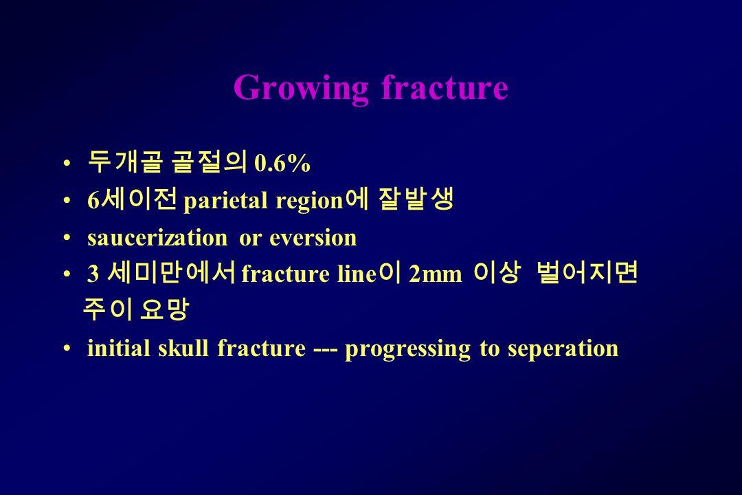 Growing fracture 두개골 골절의 0.6% 6 세이전 parietal region 에 잘발생 saucerization or eversion 3 세미만에서 fracture line 이 2mm 이상 벌어지면 주이 요망 initial skull fracture --- progressing to seperation
