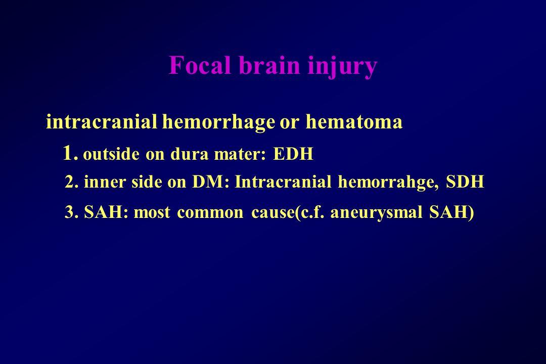 Focal brain injury intracranial hemorrhage or hematoma 1. outside on dura mater: EDH 2. inner side on DM: Intracranial hemorrahge, SDH 3. SAH: most co