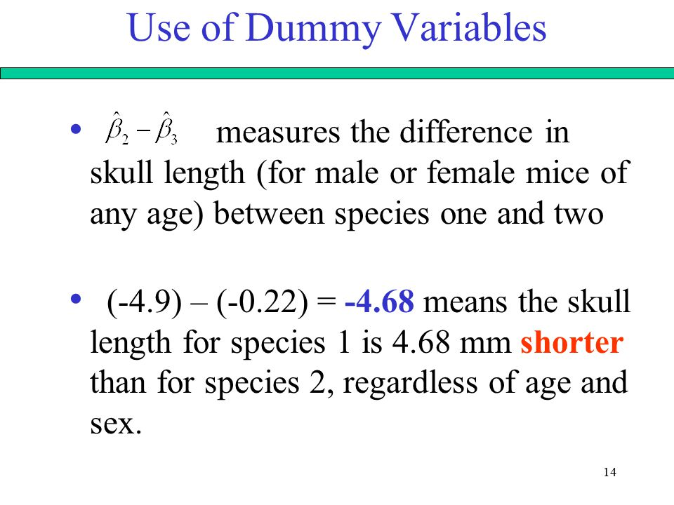 14 Use of Dummy Variables measures the difference in skull length (for male or female mice of any age) between species one and two (-4.9) – (-0.22) = -4.68 means the skull length for species 1 is 4.68 mm shorter than for species 2, regardless of age and sex.