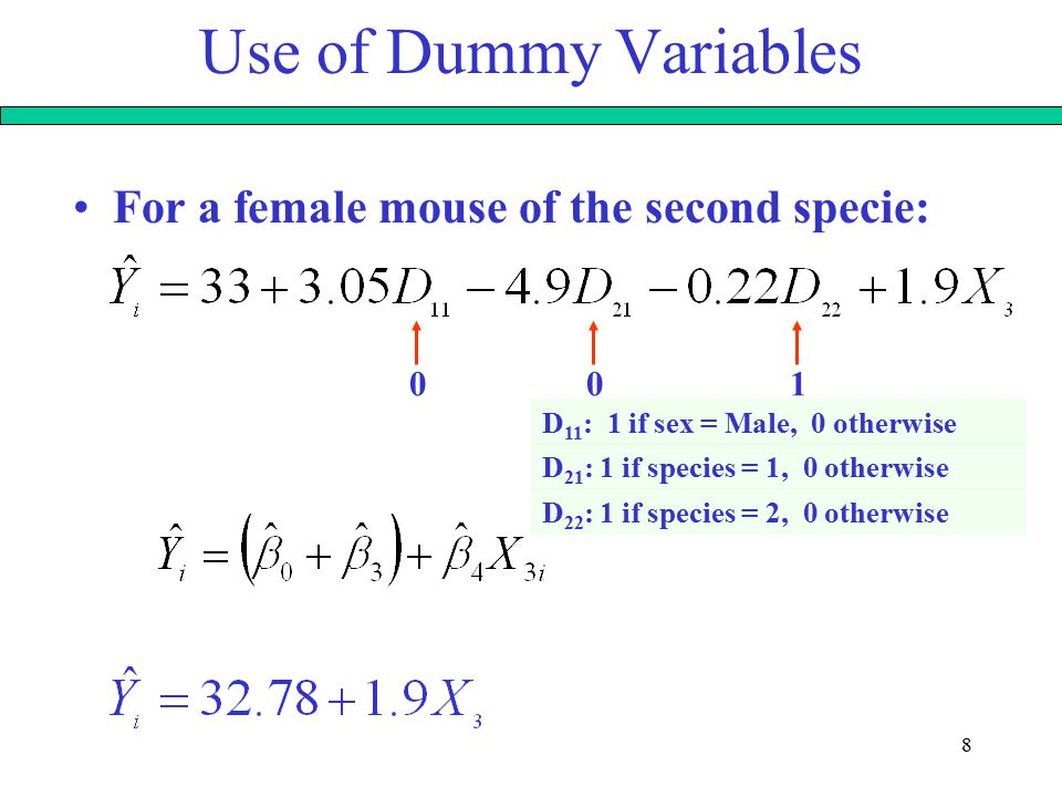 9 Use of Dummy Variables For a female mouse of the third specie: 000 D 11 : 1 if sex = Male, 0 otherwise D 21 : 1 if species = 1, 0 otherwise D 22 : 1 if species = 2, 0 otherwise