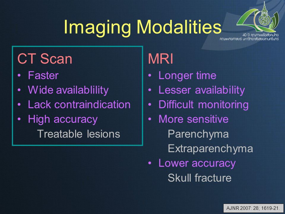 Imaging Modalities CT Scan Faster Wide availablility Lack contraindication High accuracy Treatable lesions MRI Longer time Lesser availability Difficu