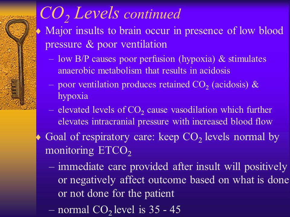 CO 2 Levels continued  Major insults to brain occur in presence of low blood pressure & poor ventilation –low B/P causes poor perfusion (hypoxia) & s