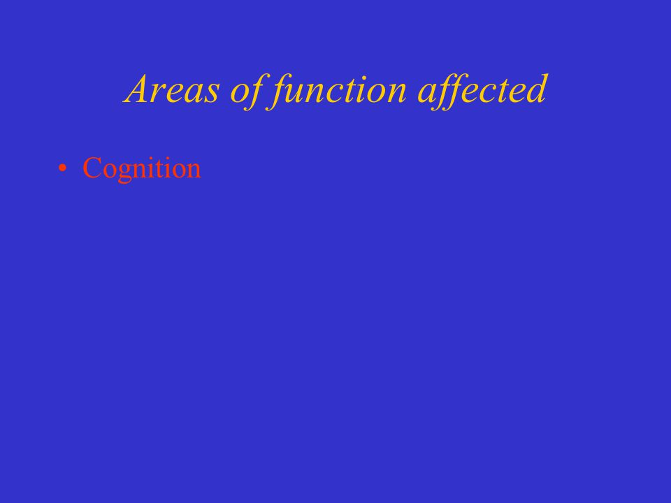 Areas of function affected Cognition