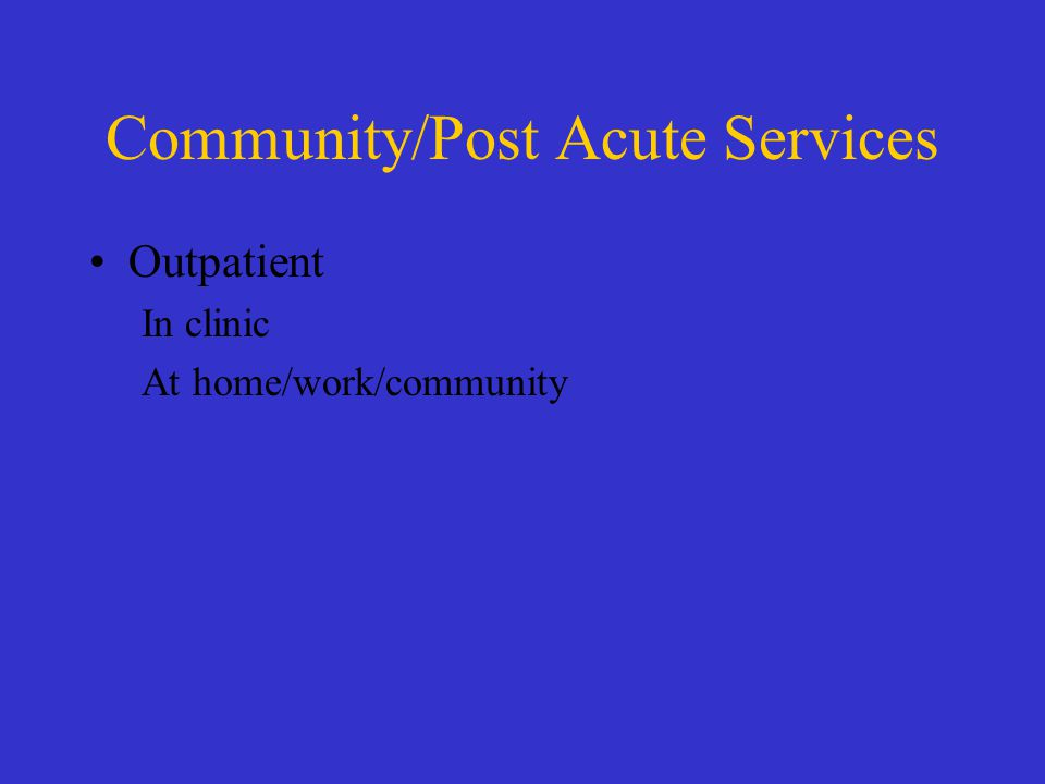 Community/Post Acute Services Outpatient In clinic At home/work/community