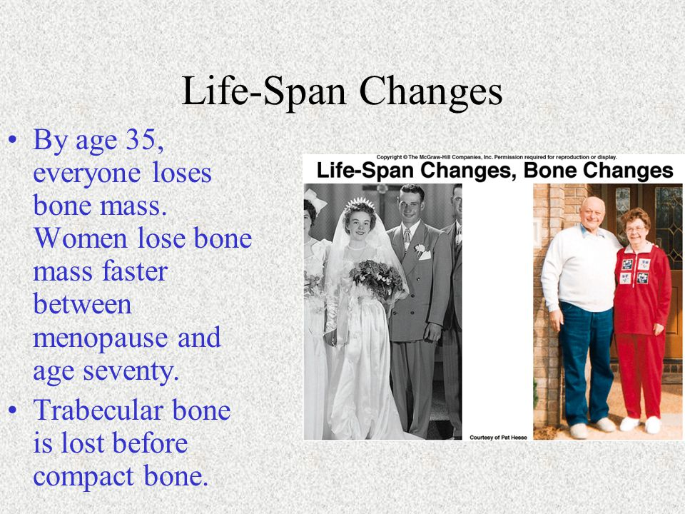 Life-Span Changes By age 35, everyone loses bone mass. Women lose bone mass faster between menopause and age seventy. Trabecular bone is lost before c