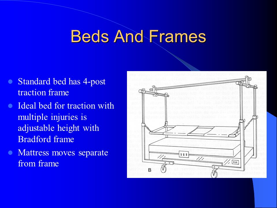 Beds And Frames Standard bed has 4-post traction frame Ideal bed for traction with multiple injuries is adjustable height with Bradford frame Mattress