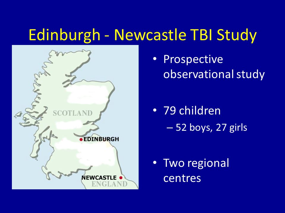 Edinburgh - Newcastle TBI Study Prospective observational study 79 children – 52 boys, 27 girls Two regional centres