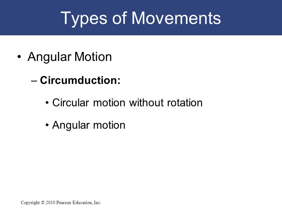 Copyright © 2010 Pearson Education, Inc. Types of Movements Angular Motion –Circumduction: Circular motion without rotation Angular motion