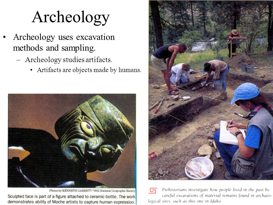 Archeology Archeology uses excavation methods and sampling.