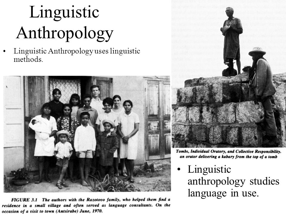 Linguistic Anthropology Linguistic Anthropology uses linguistic methods.