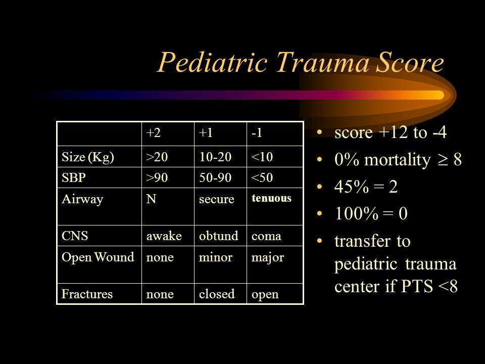 Pediatric Trauma Score score +12 to -4 0% mortality  8 45% = 2 100% = 0 transfer to pediatric trauma center if PTS <8 openclosednoneFractures majorminornoneOpen Wound comaobtundawakeCNS tenuous secureNAirway <5050-90>90SBP <1010-20>20Size (Kg) +1+2
