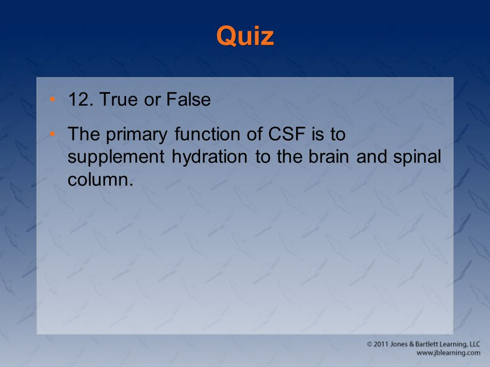 Quiz 12. True or False The primary function of CSF is to supplement hydration to the brain and spinal column.