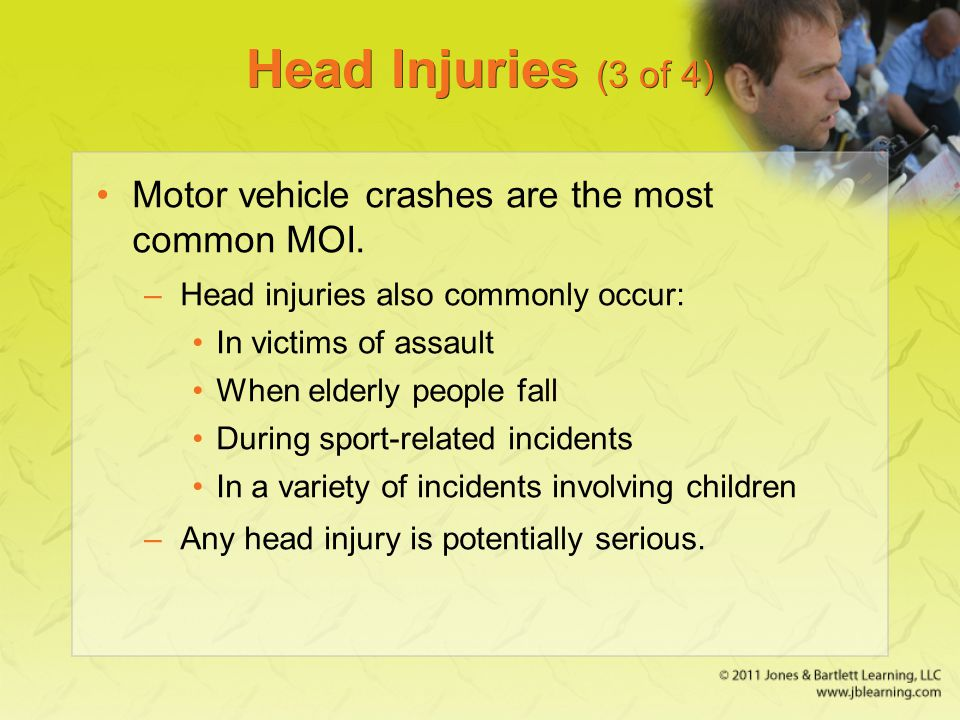 Head Injuries (3 of 4) Motor vehicle crashes are the most common MOI. –Head injuries also commonly occur: In victims of assault When elderly people fa