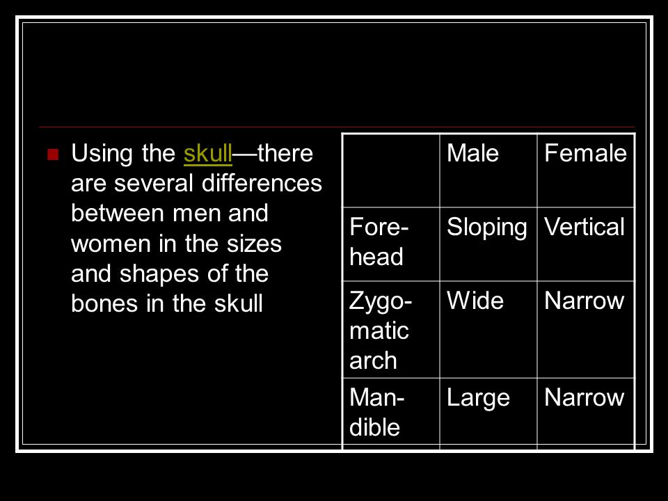 Using the skull—there are several differences between men and women in the sizes and shapes of the bones in the skullskull MaleFemale Fore- head Slopi