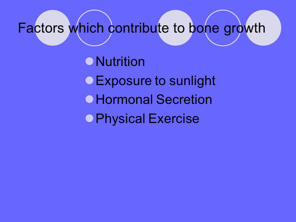 Factors which contribute to bone growth Nutrition Exposure to sunlight Hormonal Secretion Physical Exercise