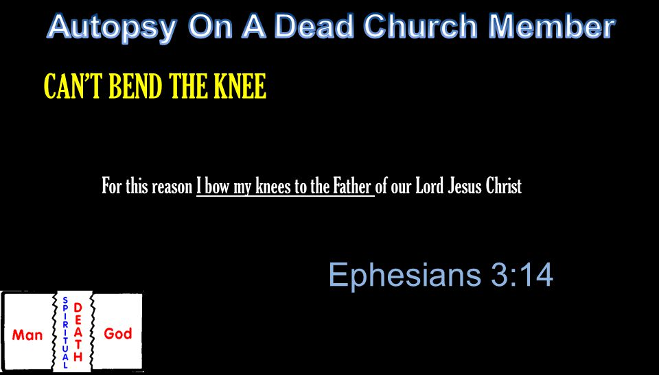 For this reason I bow my knees to the Father of our Lord Jesus Christ Ephesians 3:14 CAN'T BEND THE KNEE