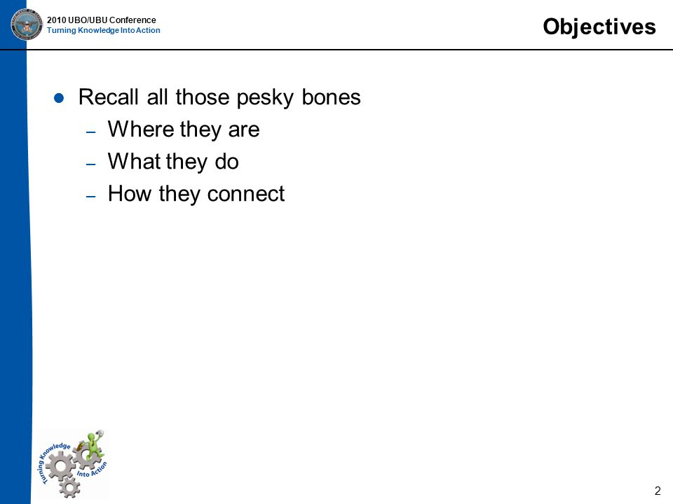2010 UBO/UBU Conference Turning Knowledge Into Action Articulation, Vertebra Atlas of the Human Skeleton (AHS), page 16 Brief Atlas of the Skeleton (BAS), page 19 Ribs articulate with the vertebral column Cartilage connects ribs 1-10 to the sternum 23