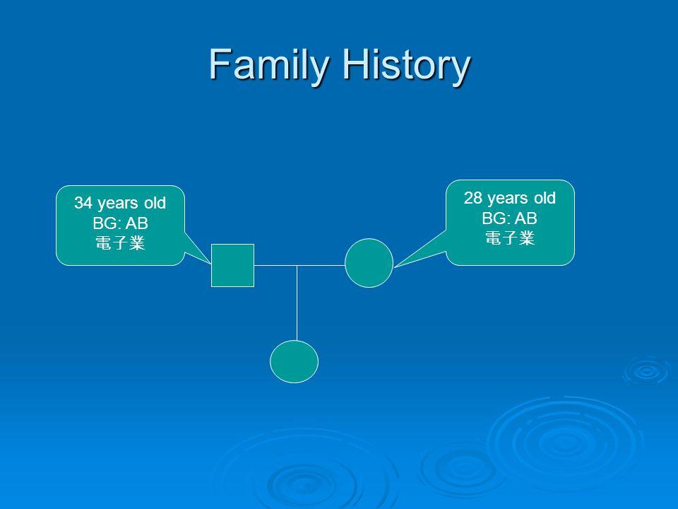 Family History 28 years old BG: AB 電子業 34 years old BG: AB 電子業
