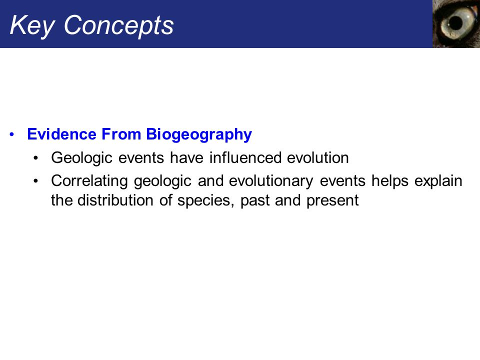 Key Concepts Evidence From Biogeography Geologic events have influenced evolution Correlating geologic and evolutionary events helps explain the distribution of species, past and present
