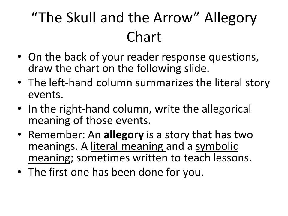 """""""The Skull and the Arrow"""" Allegory Chart On the back of your reader response questions, draw the chart on the following slide. The left-hand column su"""