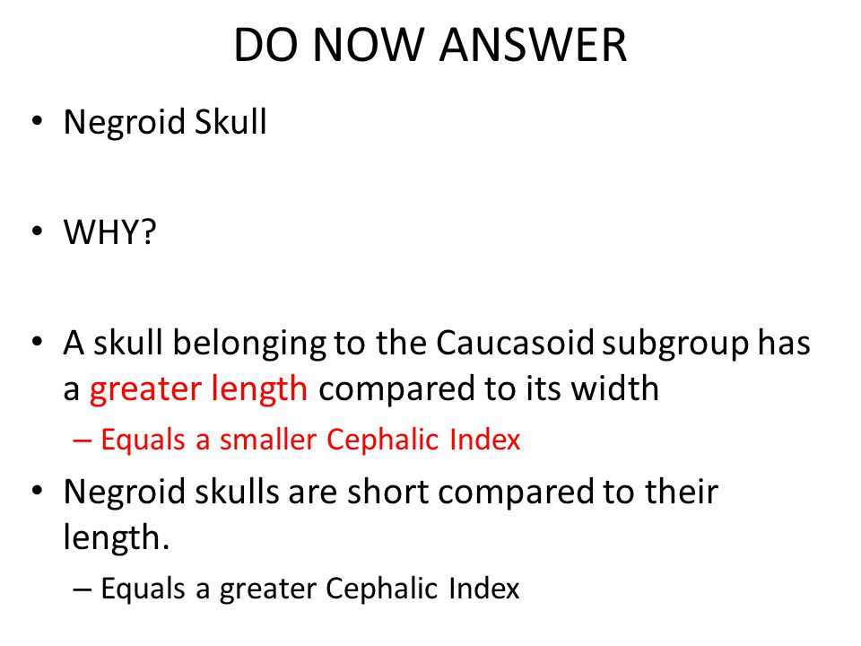 DO NOW ANSWER Negroid Skull WHY.