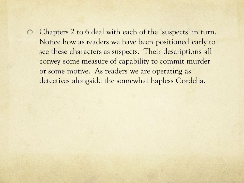 Chapters 2 to 6 deal with each of the 'suspects' in turn.