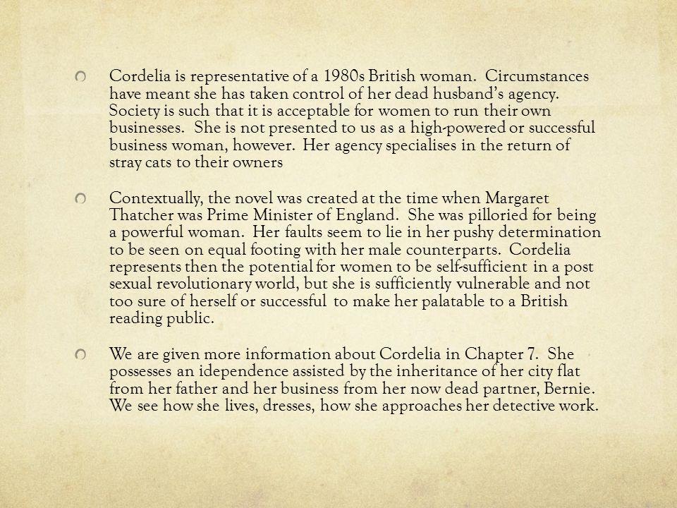 Cordelia is representative of a 1980s British woman.