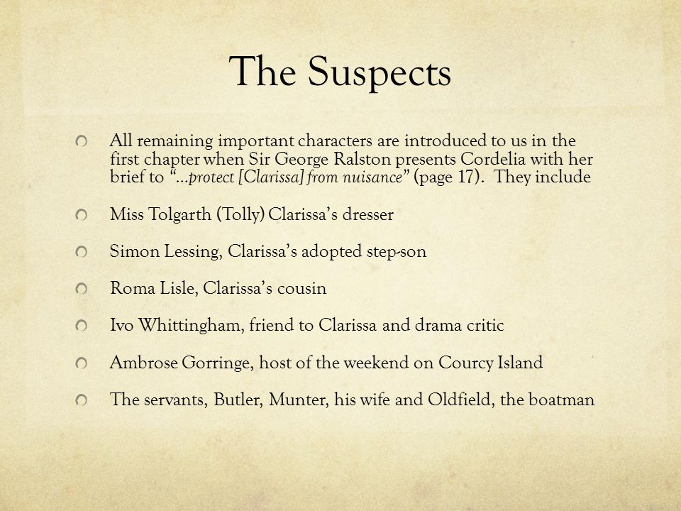 The Suspects All remaining important characters are introduced to us in the first chapter when Sir George Ralston presents Cordelia with her brief to …protect [Clarissa] from nuisance (page 17).