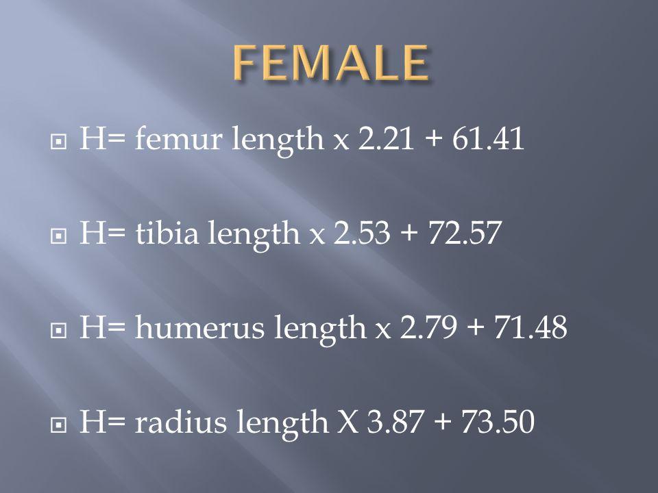  H= femur length x 2.21 + 61.41  H= tibia length x 2.53 + 72.57  H= humerus length x 2.79 + 71.48  H= radius length X 3.87 + 73.50