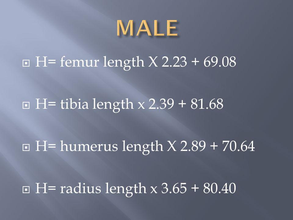  H= femur length X 2.23 + 69.08  H= tibia length x 2.39 + 81.68  H= humerus length X 2.89 + 70.64  H= radius length x 3.65 + 80.40