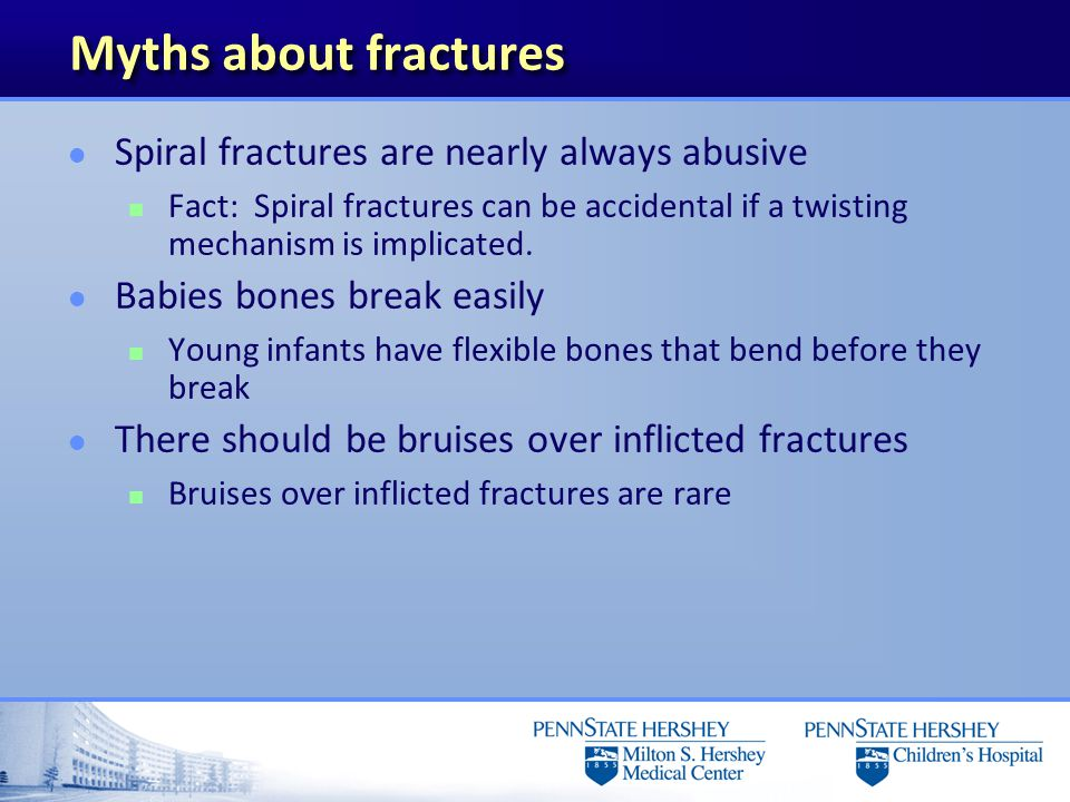 Patterns of Skeletal Injury l Common, but low specificity n Subperiosteal new bone formation n Clavicular fractures n Long bone fractures except in non mobile infants Linear skull fractures,may be abuse if history doesn ' t fit Kleinman: Diagnostic Imaging of Child Abuse, 2 nd Edition