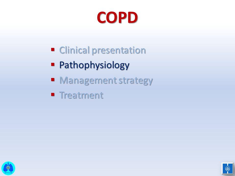 COPD  Clinical presentation  Pathophysiology  Management strategy  Treatment