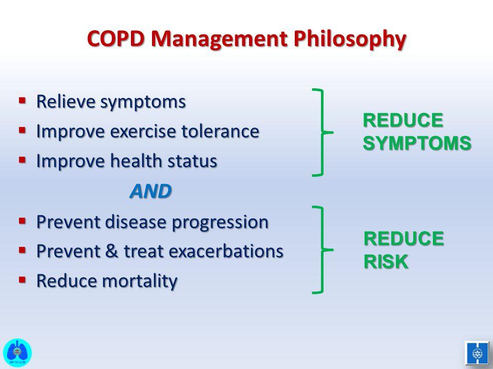  Relieve symptoms  Improve exercise tolerance  Improve health status AND AND  Prevent disease progression  Prevent & treat exacerbations  Reduce