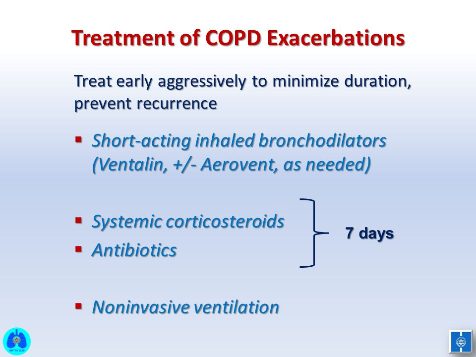 Treatment of COPD Exacerbations Treat early aggressively to minimize duration, prevent recurrence  Short-acting inhaled bronchodilators (Ventalin, +/