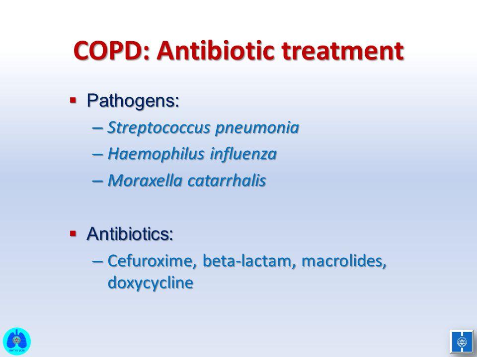 COPD: Antibiotic treatment  Pathogens: – Streptococcus pneumonia – Haemophilus influenza – Moraxella catarrhalis  Antibiotics: – Cefuroxime, beta-la