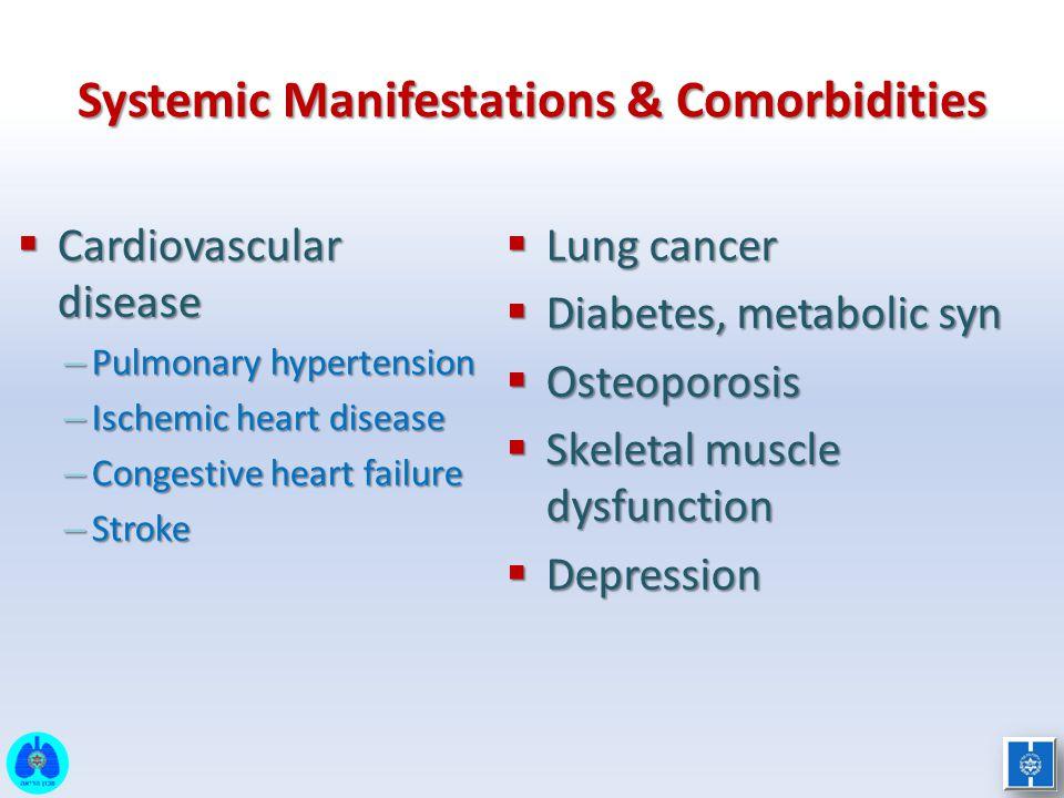 Systemic Manifestations & Comorbidities  Cardiovascular disease – Pulmonary hypertension – Ischemic heart disease – Congestive heart failure – Stroke