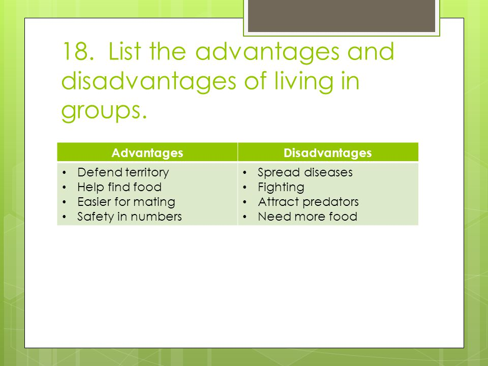 18. List the advantages and disadvantages of living in groups.