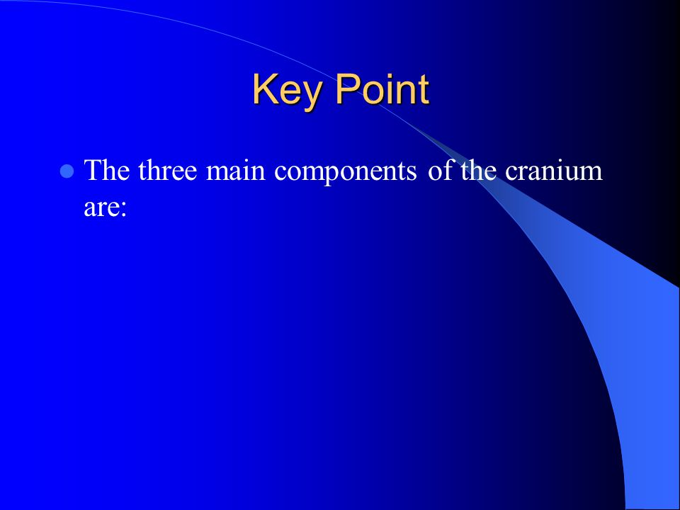Key Point The three main components of the cranium are: