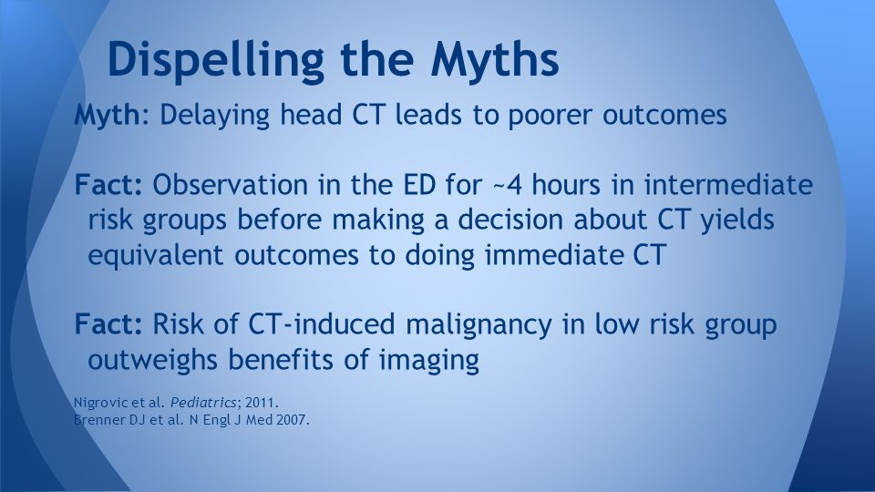 Dispelling the Myths Myth: Delaying head CT leads to poorer outcomes Fact: Observation in the ED for ~4 hours in intermediate risk groups before making a decision about CT yields equivalent outcomes to doing immediate CT Fact: Risk of CT-induced malignancy in low risk group outweighs benefits of imaging Nigrovic et al.