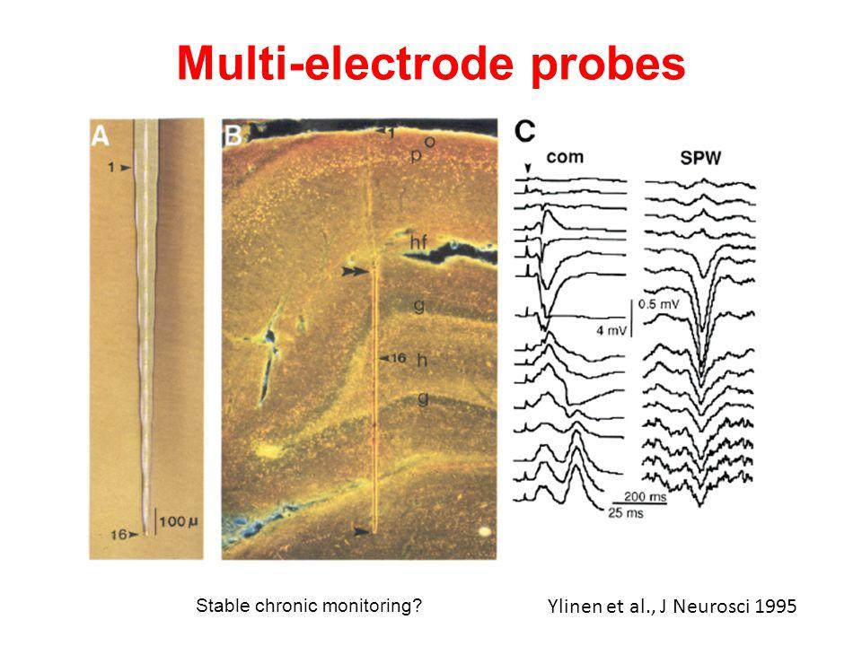 Multi-electrode probes Ylinen et al., J Neurosci 1995 Stable chronic monitoring?